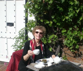 Donna Fletcher Crow Having Tea in Chilham