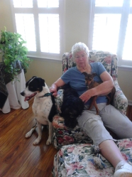 Kathleen with Lefty, Millie and Maggie