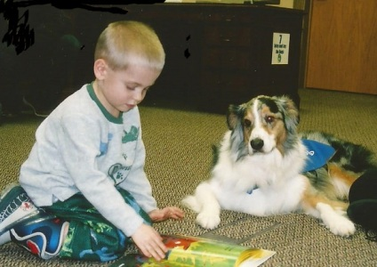 "The real-life Jay during a library ""read to the dog"" session"