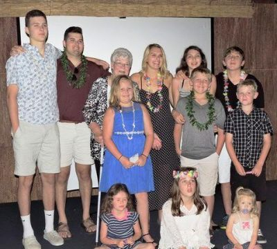 Kathleen and her grandkids, great nieces and great nephew on her 80th Birthday, Summer 2016